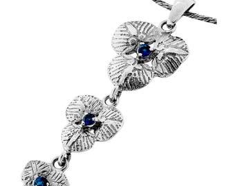 Silver Pendant, Blue CZ pendant, Gemstone pendantl, Sterling silver, handmade