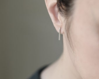 Parallel tube earrings Subtle line  modern earrings