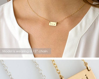Valentine's Gift, Mini Bar Necklace, Valentine's Day Gift for her, Gift for Wife, Personalized Bar Necklace, Gift For Her,Boho,LEILA Jewelry