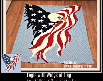 Eagle with Wings of Flag, C2C Graph, & Written Word Chart, Eagle Afghan, Patriotic Afghan