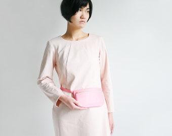 Fanny Pack, Flat Belt Bag Pink Leather, Hip Bag, Hip Poch, Travel Bag, Festival Bag