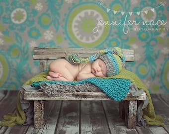 Baby Boy Elf Hat in Aqua, Lime, and Silver Grey