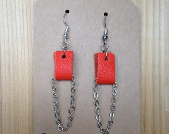 Summery Orange Suede Handmade Earrings