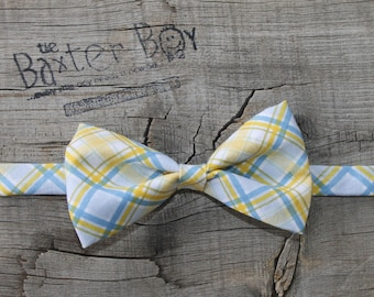 Blue and Yellow diagonal plaid little boy bow tie - photo prop, wedding, ring bearer, easter