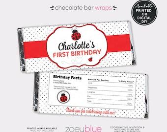 Ladybug Chocolate Wrapper - Red Ladybug Birthday Candy Wrap - Lady bug First Birthday Candy Bar Favor - Printable Chocolate Bar Wraps