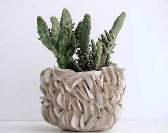 MADE TO ORDER white ceramic organic  planter, white pottery planter, organic ceramics, unique ceramic gift, white pottery bowl, handmade pot