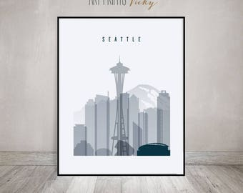 Seattle print, Seattle poster, Seattle skyline, Wall art, Seattle cityscape, Travel poster, Typography art, Home Decor, Gift, ArtPrintsVicky