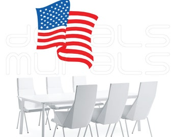 Wall decal Flowing AMERICAN FLAG Vinyl art stickers decor for walls  by Decals Murals (25x28)