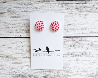 Pink and Red Heart Fabric Covered Button Stud Earrings