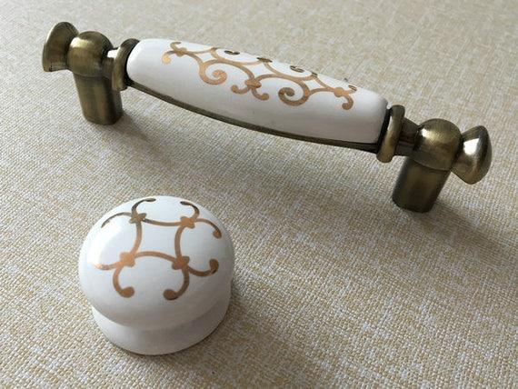 96 mm Weiß Gold Möbel Griff Griffe Möbelgriffe Türgriffe Küche