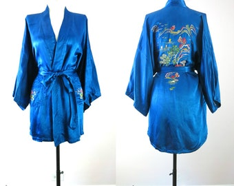Blue Asia Robe | 1960s Golden Bee Blue Satin Rayon Embroidered Shorty Robe S | Vintage 60s Robe