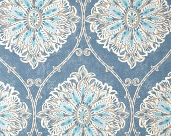 French Blue Damask Patterned Curtain Panel