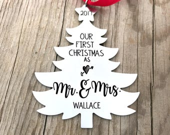 Our First Christmas Ornament - Newlywed Couple Christmas - Newlywed Gift - Mr. & Mrs. Ornament - Just Married Ornament - X-mas Decor - 1454