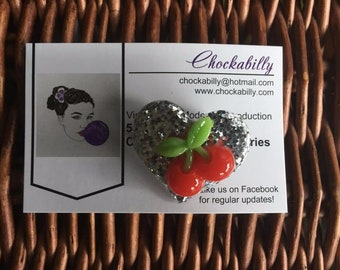 Sweet Cherry Design on Glittery Heart Brooch