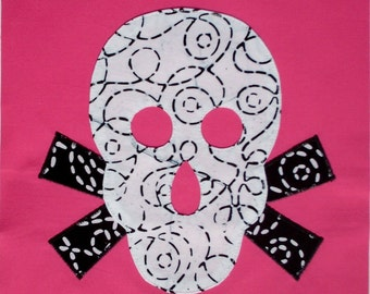 Skull Quilt Block and Applique Sewing Pattern
