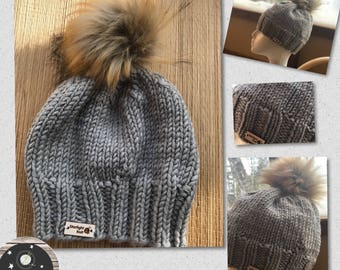 Hand Knit Hand Crafted Soft Grey Faux Fur Pompon Ladies Winter Fashion Accessory Hat Warm and Soft