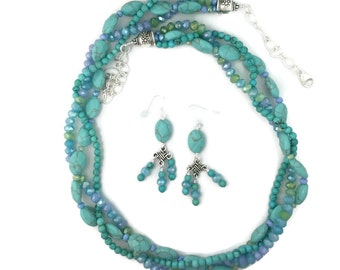 Turquoise and Glass Necklace Set