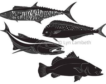 Fish Clipart Ocean Clip Art Digital Monochrome Fishing Fisherman Husband Gift Graphics Sea