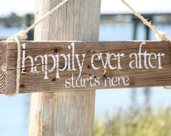 HAPPILY EVER AFTER Starts Here...Reclaimed Wood Wedding Sign, Anniversary Sign, Custom Wedding Gift