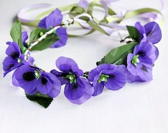 Purple Bridal Crown, Flower Girl Halo, Woodland Crown, Festival Crown, Purple Flower Crown, Purple Wedding Crown, Flower Girl Circlet, Boho
