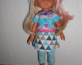 """Wear the darlings of Corolle doll, 33cm, 14 """"- 4pcs outfit - skirt, cardigan, hat and leggings"""