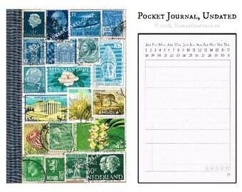 Blue Green Abstract Landscape Journal • Original Stamp Art Collage