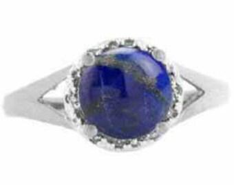 Lapis Lazuli Ring, Round Lapis Ring, Yellow Rose White Black Gold Silver Ring, Diamond Lapis Lazuli Ring, Lapis Lazuli Gemstone Ring, Lapis