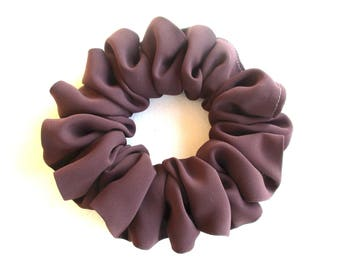 pale brown silk scrunchie for long thin hair, cheerleader accessory for women girl, handmade gift for her, large hair wrap, 80s 90s party
