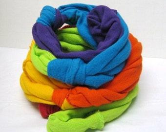 WICKED COOL RAG Scarf Roygbv Rainbow True Rag Scarf Made from Tee shirt Sleeves Rag Scarf