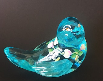 Fenton Hand Painted Glass Blue Bird~Teal~Pink Rosebuds~Bluebird~Figurine~Paperweight~Signed J. Cunnimgham