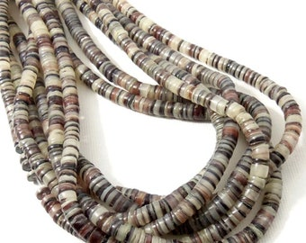Hammer Oyster Shell, Heishi, 4mm - 5mm, Gray, White, Dark Red, Thin Beads, Small, Multi Colored, Extra Long 24 Inch Strand - ID 2069