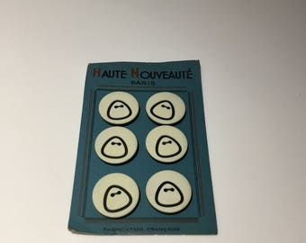 Vintage 1960s French Black and White Buttons - 6 on the card