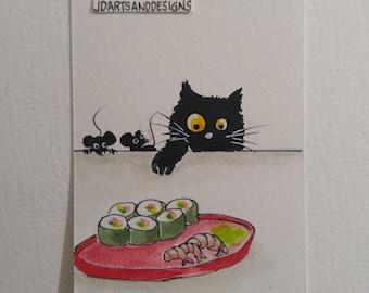 ORIGINAL #106 art painting black cat mouse sushi shrimp wasabi watercolor funny whimsical Aceo miniature freeship