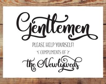 INSTANT DOWNLOAD--Printable Men's Bathroom Basket Sign Digital File