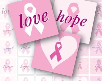Pink Ribbon Awareness -- 7\/8 inch Graphics for Scrabble Tile, Bottle Caps, Scrapbook images