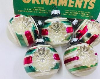 Vintage Shiny Brite, Vintage Shiny Brite Ornaments, Vintage Chrisymas Tree Ornaments, double indent ornaments, indent ornaments