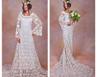 70s style Lace BOHEMIAN WEDDING DRESS. ivory or white crochet lace boho wedding gown. hippie bell sleeves. Off Shoulder Vintage Style.