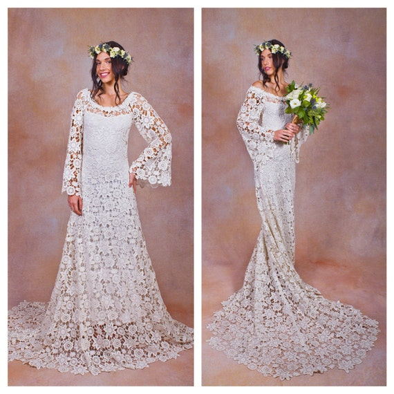 70s style lace bohemian wedding dress ivory or white crochet for 70s inspired wedding dress
