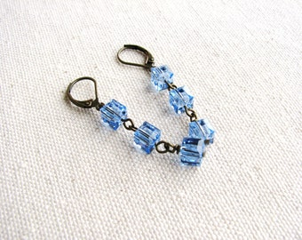 Blue Cube Earrings, Square Crystal Earrings, Geometric Earrings, Blue Earrings, Leverback Earrings