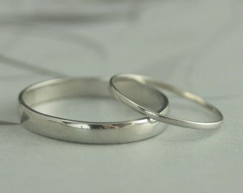 Platinum Wedding Set~His and Hers Bands~His and Hers Rings~Platinum Band Set~Platinum Ring Set~Traditional Wedding Set~Thin Wedding Bands
