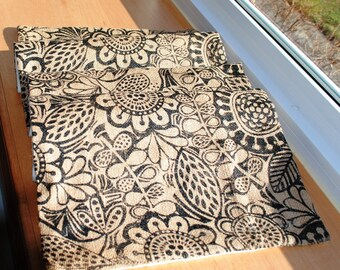 Burlap Table Runner Natural Black Sunflowers Birds One of a Kind