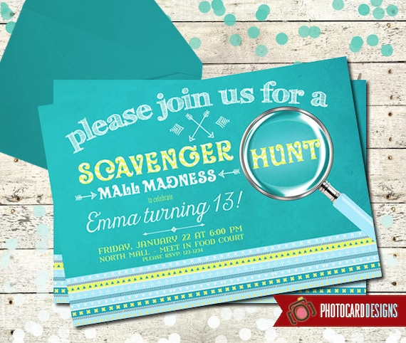 Scavenger hunt birthday invitation mall madness invitation scavenger hunt birthday invitation mall madness invitation card invite aztec digital print file oh snap party road rally filmwisefo