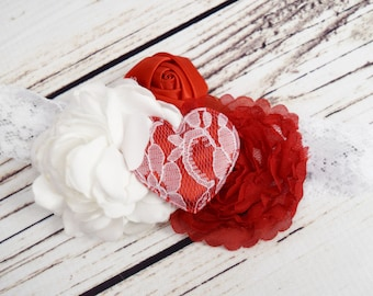 Handcrafted Lace and Satin Red and White Romantic Heart Headband - Baby Girl Bows - Holiday Headband - Vintage Style Baby Headband - Fancy