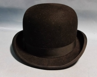 Vintage Derby Bowler Hat, Fur Felt, Satin 7 Leather Band, Size 6 3/4
