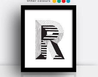 Letter R print - hand drawn typeface