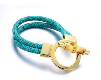 Gift For Her Green Genuine Leather Goldtone Turn-lock Cuff Bangel Bracelet By Alberto Moore