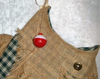 Christmas Stocking Burlap Fish Stocking with Hook - Colored Check - Different Colors Available