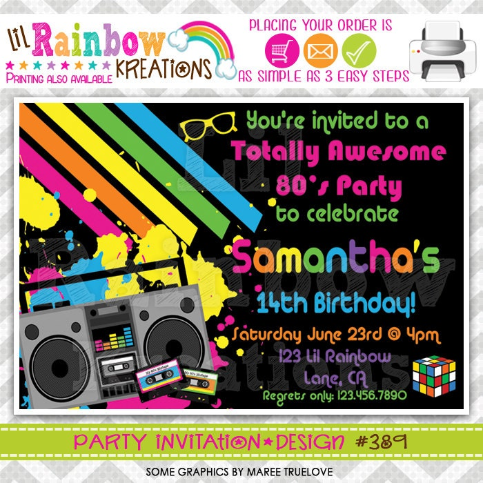 389: DIY Totally Awesome 80\'s Party Invitation Or Thank