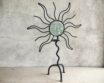 Rustic Metal Glass Sun Candle Holder, Boho Decor Bedroom, Hippie Decor, Patio Decor