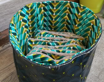 """12 pretty wipes/cotton washable and their """"Green afro"""" basket"""